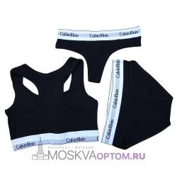 Женский набор нижнего белья Calvin Klein 3 в 1 (черный)