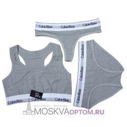 Женский набор нижнего белья Calvin Klein 3 в 1 (серый)
